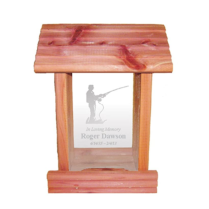 Personalized Memorial Bird Feeder - Hanging Cedar Wood Bird Feeder with Custom Engraved In Loving Memory Inscription & Choice of Theme Sympathy Gift Made in USA (Fisherman)