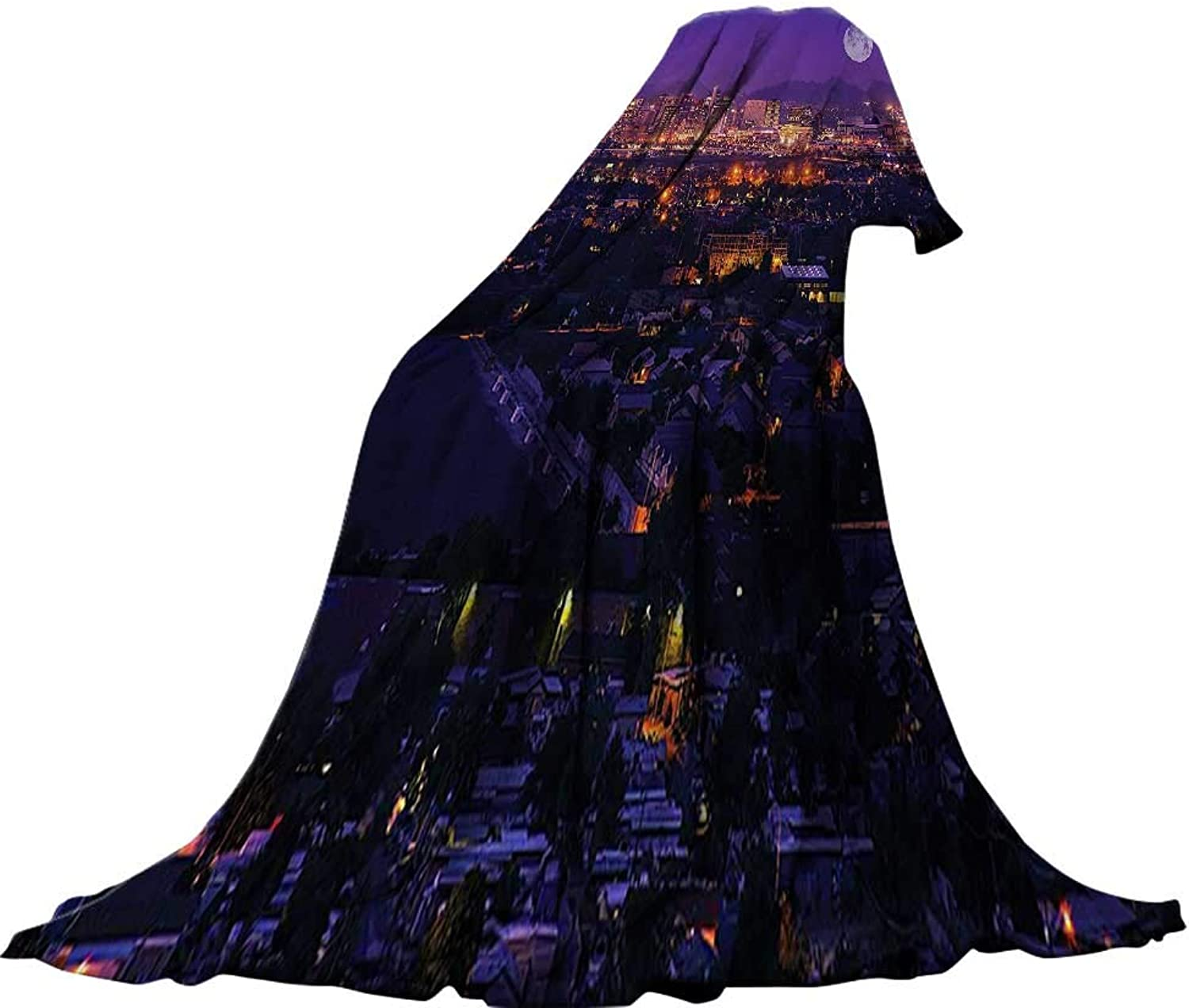 QINYANHome Soft Travel Blanket(90 x70 ) Summer Quilt Comforter Phoenix Arizona Full Moon Over Phoenix Arizona Downtown Residential Areas Picture Navy Purple.