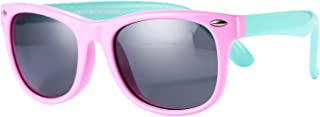 Pro Acme TPEE Rubber Flexible Kids Polarized Sunglasses for Baby and Children Age 3-10 (Pink/Green)