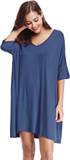 Women's V-Neck Short Sleeve T-Shirt Dress Loose Nightshirt Sleepwear