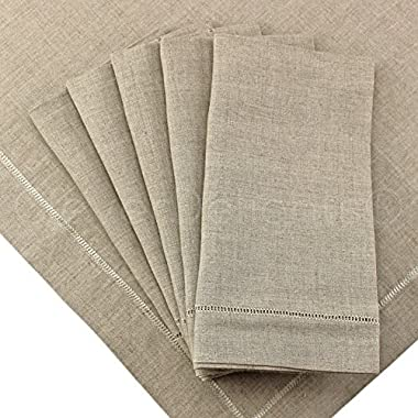 12 Pack - CleverDelights Natural Linen Hemstitched Dinner Napkins - 20  x 20  - 100% Pure Linen - Ladder Hemstitch Cloth Dinner Napkins