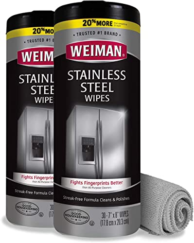 Weiman Stainless Steel Cleaner and Polish Wipes Bundle With Microfiber Cloth-Removes Fingerprints, Water Marks and Gr...
