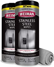 Weiman Stainless Steel Cleaner and Polish Wipes Bundle with Microfiber Cloth-Removes Fingerprints, Water Marks and Grease ...