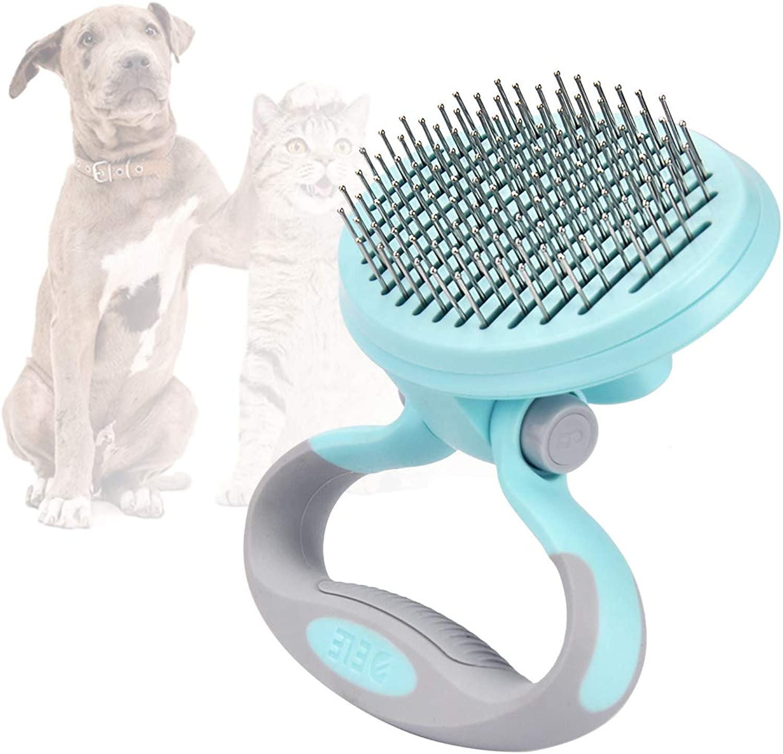SEISSO Pet Grooming Brush SelfClean Cat Dog Hair Shedding Pin Brush Slicker Massage Adjustable Handle Round Top