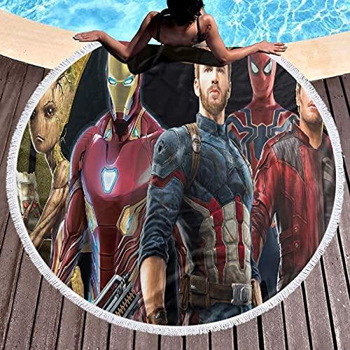Cute Pillow The Avengers - Toalla de playa redonda de microfibra, gran tamaño y redonda, toalla de picnic, toalla superabsorbente de agua, 122 cm de diámetro
