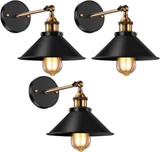 Vintage Wall Sconce Licperron Black Antique 240 Degree Adjustable Industrial Wall Light for Restaurants Galleries Aisle Kitchen Room Doorway 3 Pack.