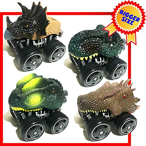 Dinosaur Toys for Kids 3-5 Bigger Dinosaur Car Toys for Kids 4 Pack Friction Powered Dinosaur Vehicles for Party Favors Best Dinosaur Toy for 3 Year Olds Boys as Birthday Gift