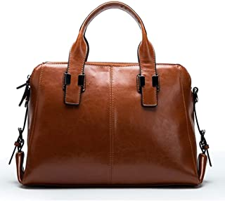 Fashion Black/Brown/Red Pockets Fashion Wild Handbags Cowhide Retro Single Shoulder Ladies Leather Portable Diagonal Package 35 * 13 * 38 (cm) (Color : Brown)