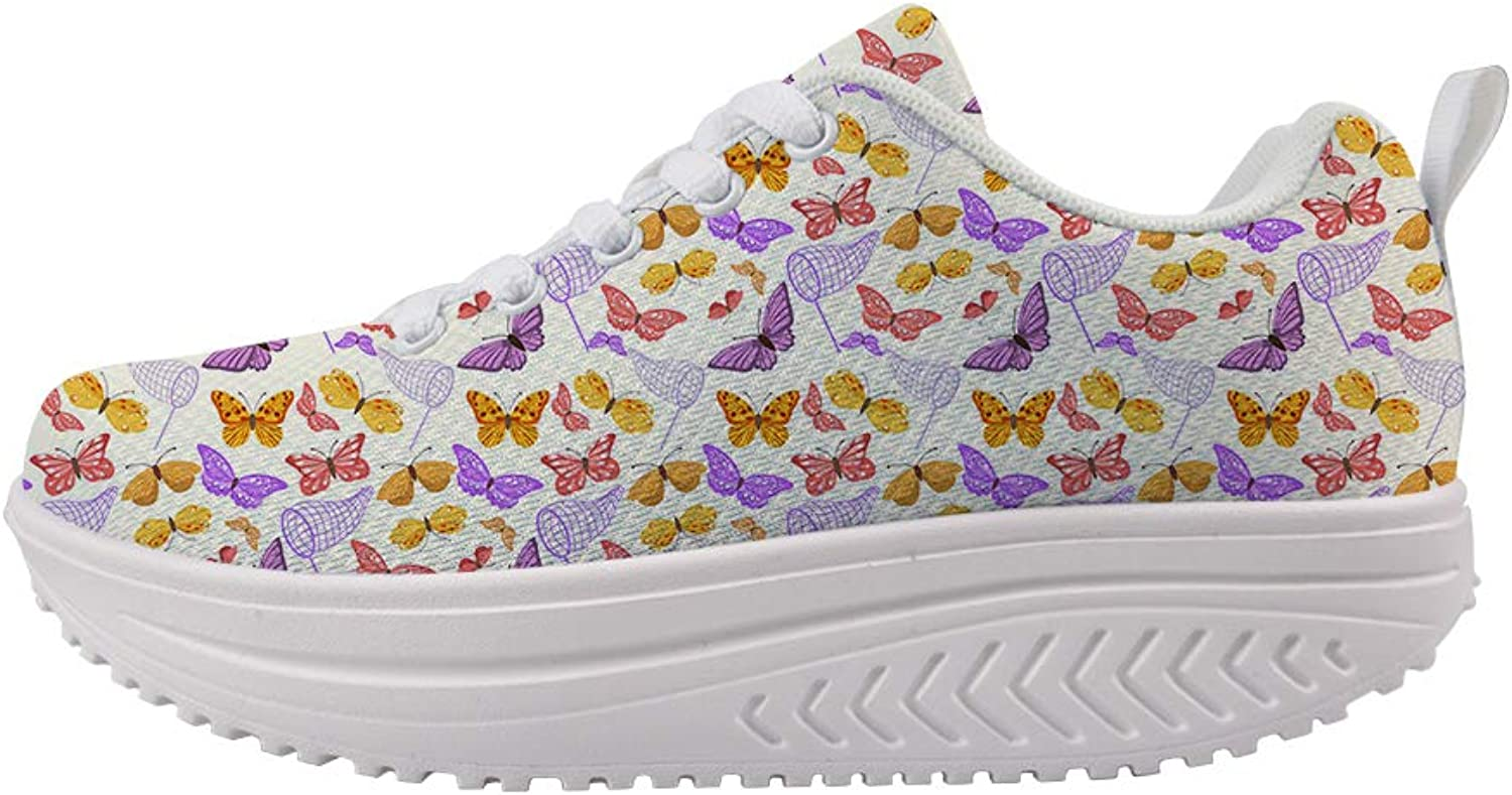 Owaheson Swing Platform Toning Fitness Casual Walking shoes Wedge Sneaker Women Net Pocket colorful Butterflies Capture