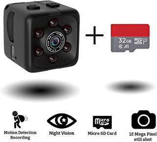 Mini Hidden Spy Camera Portable Small 1080P Wireless Cam with Night Vision and Motion Detection for Nanny/Housekeeper, Security Sports Camera (Black (with 32 GB Card))