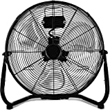HealSmart 20 Inch 3-Speed High Velocity Heavy Duty Metal Industrial Floor Fans Oscillating Quiet for Home, Commercial, Residential, and Greenhouse Use, Outdoor/Indoor, Black, 20'