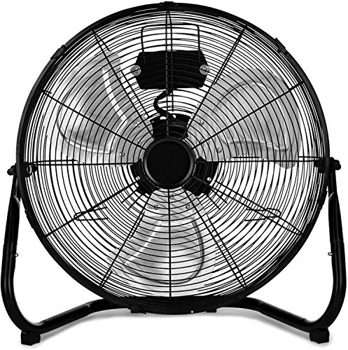 """HealSmart 20 Inch 3-Speed High Velocity Heavy Duty Metal Industrial Floor Fans Oscillating Quiet for Home, Commercial, Residential, and Greenhouse Use, Outdoor/Indoor, Black, 20"""""""