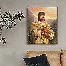 Danjiao Jesus Umarmte Das Lamm Leinwand Malerei Kalligraphie Leinwand Kunstdruck Wohnkultur Leinwand Wandkunst Bild F/ür Wohnzimmer Kirche Wohnzimmer 60x90cm