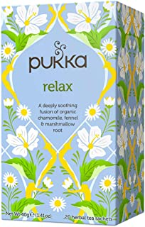 Pukka Organic Relax Chamomile & Fennel (Vata), 20 Herbal Tea Sachets, 40g