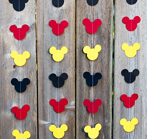 OrangeDolly Mickey Mouse Garland | Paper Garland |Party Supplies | Club House Inspiration | Mickey Head Garland | Tricolor Mickey Head Garland Mickey Paper garland (Mickey Triangle Shape)