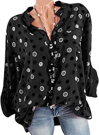 66d803311b2ff Decha Chemisier T-Shirt Imprimé Sexy Tee-Shirt Femme Chemise Chic Tops à Manches  Longues Haut de.