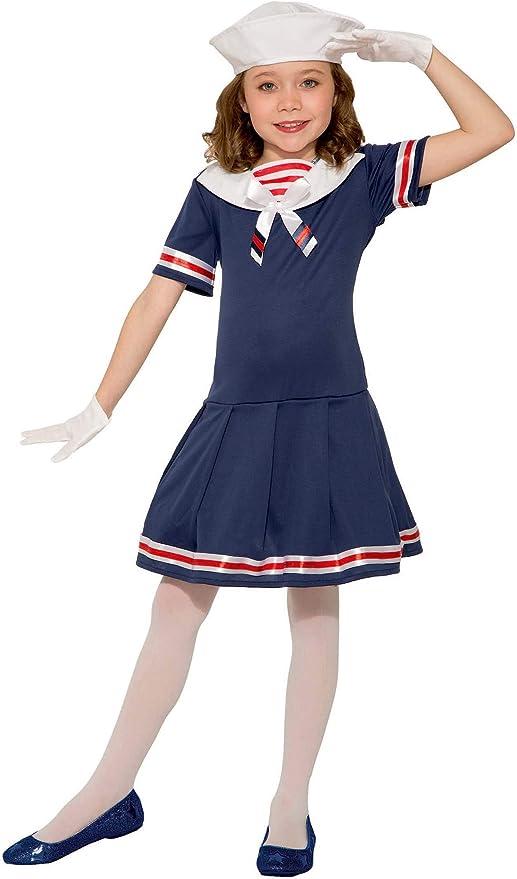 60s 70s Kids Costumes & Clothing Girls & Boys Girls Classic 1920s Sailor Dress Hat Uniform Navy USO Fancy Halloween Costume  AT vintagedancer.com