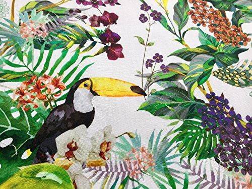HomeBuy Rideau en coton imprimé numérique Motif tropical Toucan Oiseau et jardin 280 cm de large (vendu au mètre)