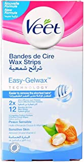 Veet Wax Strips Easy-Gelwax Technology with Almond Oil and Vitamin E for Sensitive Skin - 12 Strips