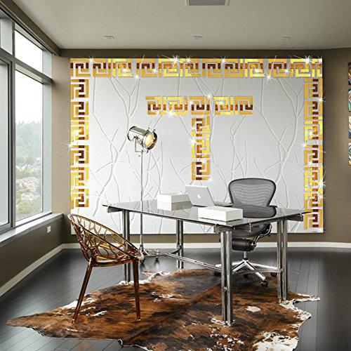 ITTA 20 pegatinas para techo de 20 x 20 cm, acrílico en 3D, diseño de laberinto de borde, efecto espejo, decoración de pared, mural para el hogar, boda, habitación, hotel, calcomanía (oro 3)