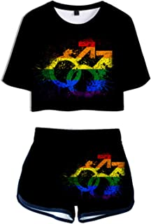 HoneyStore Women's LGBT Print Crop Top Shorts Sets Casual Sports Tracksuit Outfits