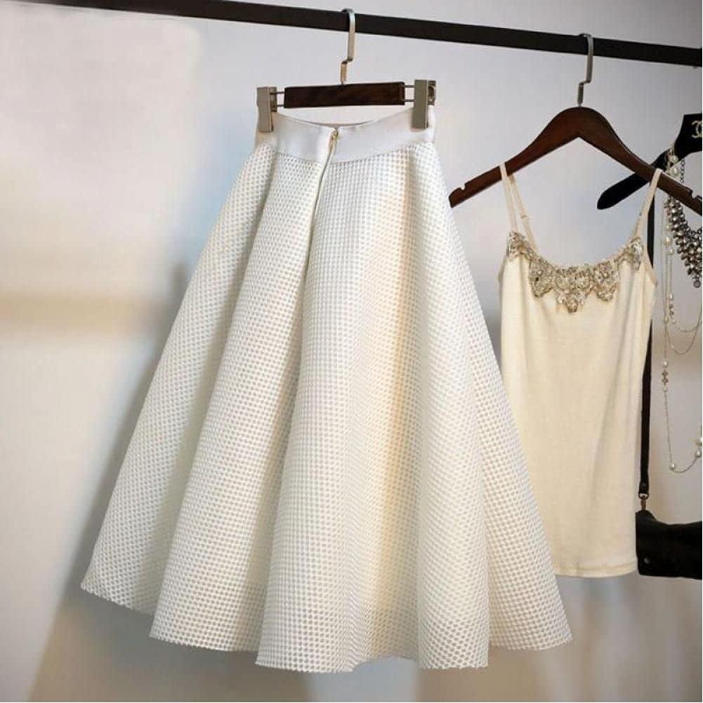 ZJLX Spring and Summer Korean Women's Fashion High-Waist A-Line Knee-Length Plaid Skirt