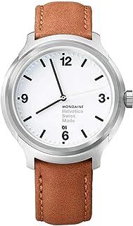 Mondaine - Helvetica Bold- Reloj de Cuero Marrón para Hombre y Mujer, MH1.B1210.LG, 43 MM