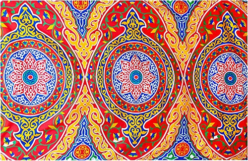 Egyptian Ramadan Eid Celebration Decorative Colorful Red Printed with Yellow Fringes Khayamiya Khayameya khyamya Khayyāmiyah Pattern Linen Length: inch 55 cm 140 Width:inch 55 cm 140