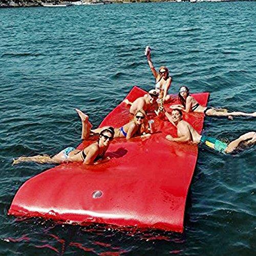 Moracle Colchoneta de Agua Flotante 12x6FT Almohadilla de Espuma 360/590kg Flotante Relajación en la Piscina/Playa Flotante de Agua con Almohada de Bricolaje (Rojo y Amarillo, 12x6FT)