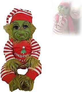 Hengyuan Poupée Grinch à Fourrure Verte de Noël, Jouets de poupée Grinch bébé Mignon pour Les Enfants, Cadeau de Noël en P...
