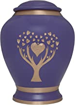 Purple Cremation Urn with Tree of Life by Liliane Memorials - Urns for Human Ashes Remains - Brass - Suitable for Funeral Cemetery Burial or Niche - Large Size for Adults up to 200 lbs - Love Tree