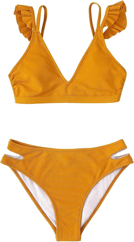 CUPSHE Women's Low Rise Bikini Set Ruffled Two Quality inspection Shoulder Straps shopping P