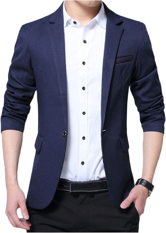 95683fb697 Freely Mens 1 Button Button Button Long Sleeve Notch Lapel Patch Fitting  Blazer Coat 727d3b