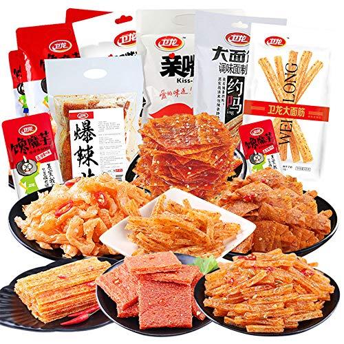 辣条 卫龙辣条大礼包 Spicy Snack 大面筋 魔芋爽 亲嘴烧 豆皮 火药辣条830G Weilong Spicy strips
