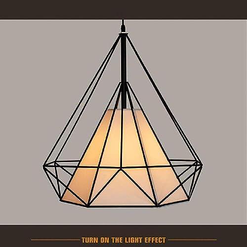 LANS pays nordique américain Style Restaurant salle d'étude Bar lampe Diamond Birdcage fer Creative lumière Bar Pyramid rétro lustre, noir 50  50