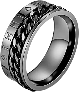 INRENG Men's 8MM Stainless Steel Chain Spinner Ring Band with Viking Rune Odin Norse Text Jewelry