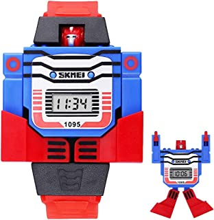 Songlin@yuan Creative Transformation Toy Shape Changing Removable Dial Digital Movement Children Watch with PU Plastic Cement Band Fashion (Color : Red)