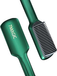 Hair Straightener Brush, Mini Straightening Brush, 7MAGIC Ceramic Heated Brush Hair Straightener with Anti Scald Design, D...