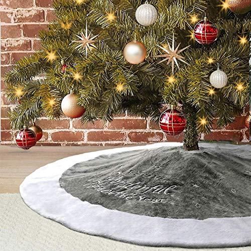 Dremisland Christmas Tree Skirt, 48' Luxury Faux Fur Tree Skirt Large Grey Super Soft Tree Skirt for Xmas Holiday Decorations (Diameter:48')