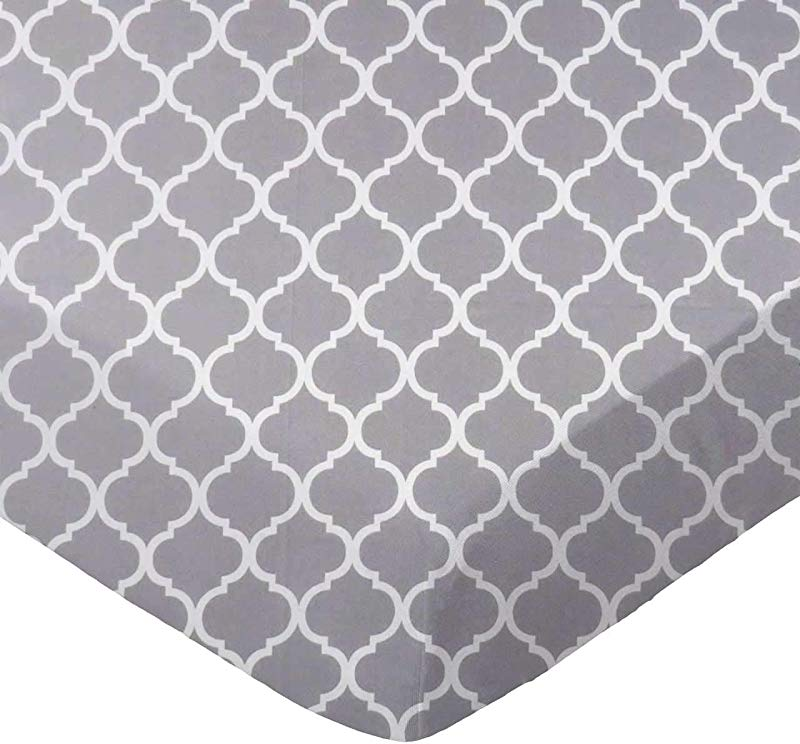 SheetWorld Fitted 100 Cotton Percale Cradle Sheet 18 X 36 Grey Large Quatrefoil Made In USA