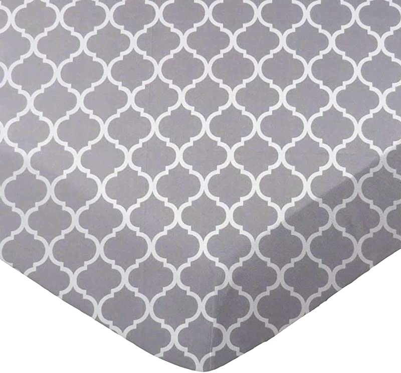 SheetWorld Fitted 100 Cotton Percale Pack N Play Sheet Fits Graco Square Play Yard 36 X 36 Grey Large Quatrefoil Made In USA