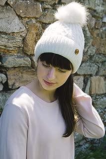 Irish Knitwear Co. Cream Cable & Diamond Knit Bobble Hat