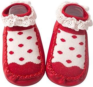 WEXCV kinderen blote voetschoenen, unisex baby meisjes jongens loopschoen ademende kanten rand sokken schoenen babyschoene...