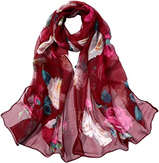 Fashion Wraps and Scarves for Women GoodLock Roses Printing Long Soft Wrap Scarf Simulation Silk Shawl Scarves