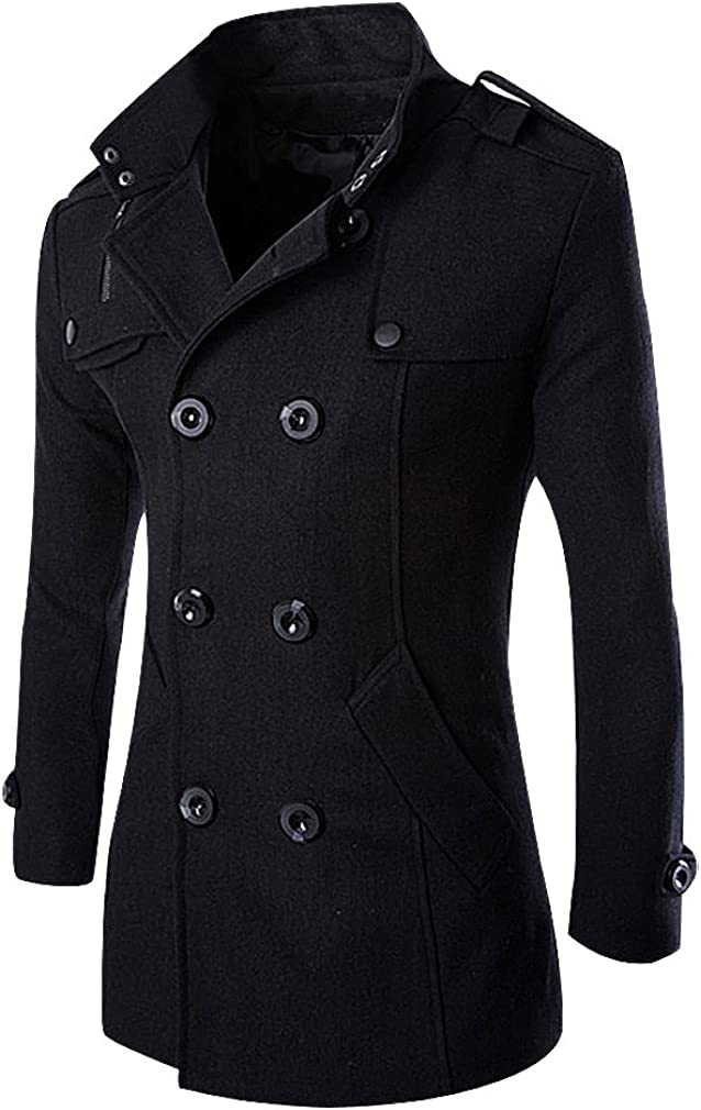Mancave Men Slim Fit Double Breasted Turndown Collar 1 Color Wool Blend Coat