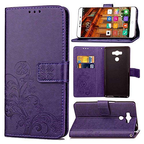 pinlu Funda para Elephone P9000 Función de Plegado Flip Wallet Case Cover Carcasa Piel PU Billetera Soporte con Trébol de la Suerte Púrpura