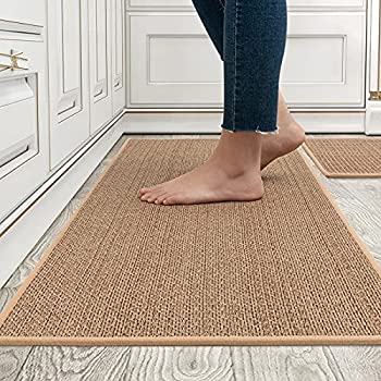 MontVoo Kitchen Rugs and Mats Washable [2 PCS] Non-Skid Natural Rubber Kitchen Mats for Floor Runner Rugs Set for Kitchen Floor Front of Sink Hallway Laundry Room 17 x30 +17 x47   Oats