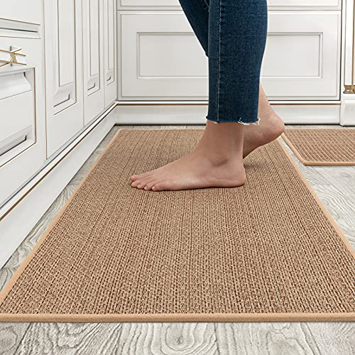 MontVoo Kitchen Rugs and Mats Washable [2 PCS] Non-Skid Natural Rubber Kitchen Mats for Floor Runner Rugs Set for Kitchen Floor Front of Sink, Hallway, Laundry Room 17'x30'+17'x47' (Oats)
