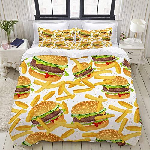 ZELXXXDA Bettwäsche-Set,Hamburger Pommes Bettwäsche 3D Giant Burger 3 Stück Spaß Fast Food Kreative Tagesdecken,1 Bettbezug 220x240 + 2 Kopfkissenbezug