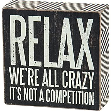 Primitives by Kathy 25172 We're All Crazy-Box Sign, 5  x 5